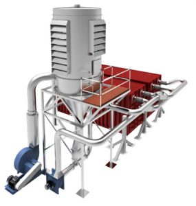 The DUSTEX cyclone dust collector with bin loading system loads waste material into containers. Made in NZ.